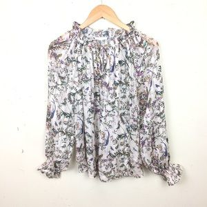 H&M White Floral Flutter Sleeve Tie Neck Blouse